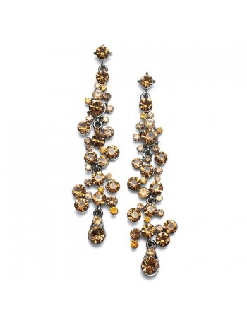 Dramatic Earrings with Cascading Smoked Topaz Bubbles