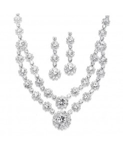 Regal Silver Two Row Rhinestone Neck Set
