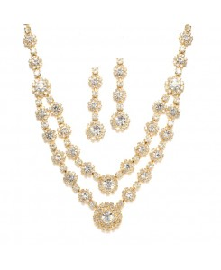 Regal Gold Two Row Rhinestone Neck Set
