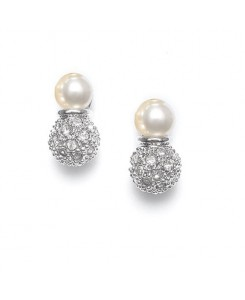 Ivory Pearl Bridal Earrings with Pave CZ Balls