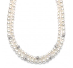 2-Row Ivory Pearl Bridal Neck with CZ Balls
