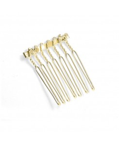 Gold Comb Adapter for Brooches - 1 1/8