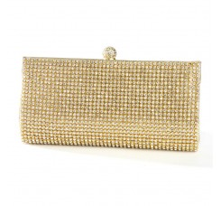 Gold Evening Bag with Bezel Set Crystals