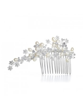 Freshwater Pearl Bridal Comb with Crystal
