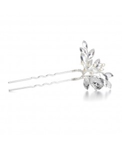 Freshwater Pearl Bridal Hair Pin with Crystals