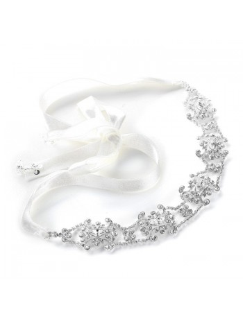 Swarovski Crystal Bridal Headband or Belt with Ribbon