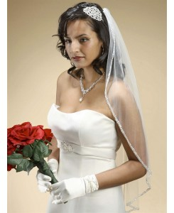 Rhinestone Edge Wedding Veil with Pearls & Beads