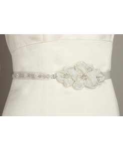 Pearl and Crystal Flower Cluster Bridal Sash - Ivory