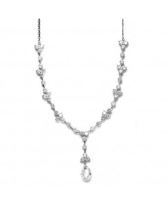 CZ Bridal Necklace with Faceted Crystal Drop