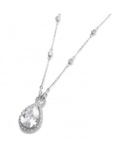 Large CZ Pear Drop Bridal Necklace