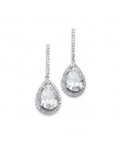 Large CZ Pear Drop Bridal Earrings with Pave Frame