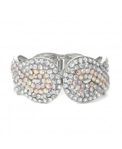 Iridescent Crystal Wedding or Prom Cuff Bracelet