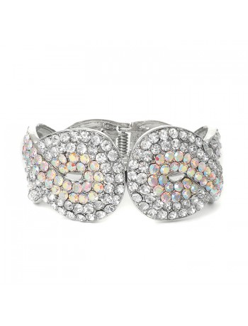 Iridescent Crystal Wedding or Prom Cuff Bracelet