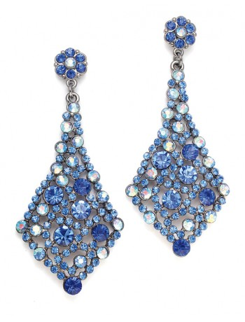 Royal Blue Crystal Bridesmaids or Prom Earrings