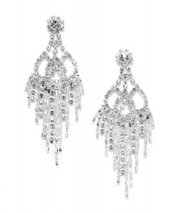 Rhinestone & Beads Prom Chandelier Earrings