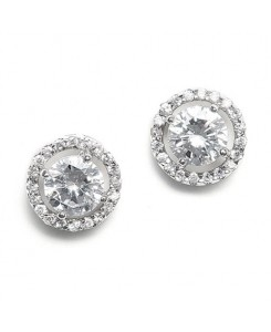 Bridal Earrings with Bold CZ Solitaire