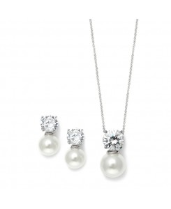 Cubic Zirconia with Pearl Solitaire Bridal or Bridesmaid Necklace & Earrings Set