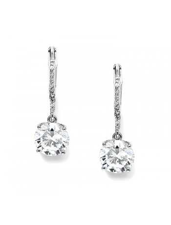 2 Ct. Cubic Zirconia Bridal or Bridesmaids Drop Earrings