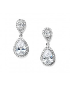 Lustrous Cubic Zirconia Teardrop Wedding Earrings