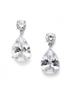 Classic Cubic Zirconia Pearshape Drop Bridesmaid or Wedding Earrings