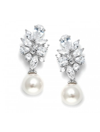 Dazzling CZ Cluster Wedding Earrings with Pearl drop