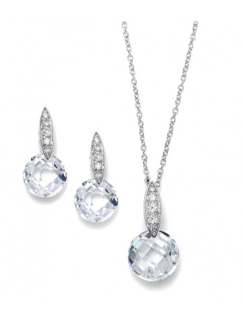 Faceted Crystal Drop Necklace and Earrings Set with Cubic Zirconia