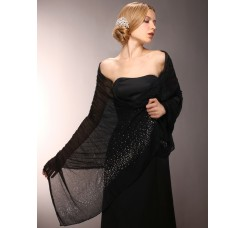 Sheer Crinkle Evening Shawl with Scattered Crystals
