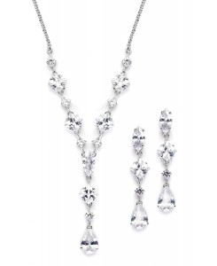 Glamorous Mixed Cubic Zirconia Wedding Necklace & Earrings Set
