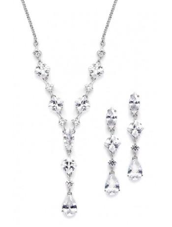 Glamorous Mixed Cubic Zirconia Wedding Necklace & Earrings Set