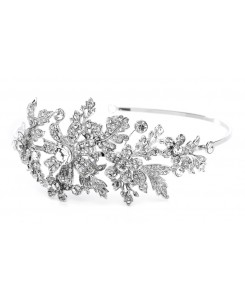 Crystal Wedding Headband or Tiara with Side Floral Design