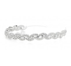 Lustrous Silver Wedding Headband with Crystal Braid