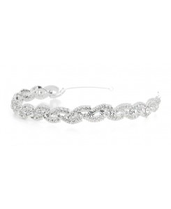 Lustrous Silver Wedding Headband with Crystal Braid
