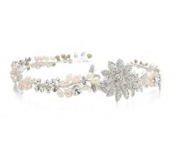 Designer Wedding Tiara Hair Vine or Headband in Freshwater Pearls