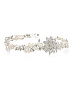 Designer Wedding Tiara Hair Vine or Headband in Freshwater Pearls