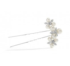 Floral Trio Wedding Hair Pin with Crystals & Pearls