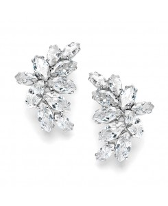 Shimmering Cubic Zirconia Marquis Cluster Earrrings