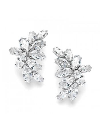 Shimmering Cubic Zirconia Marquis Cluster Earrrings