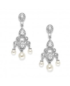 Cubic Zirconia Bridal Chandelier with Pearl Drops