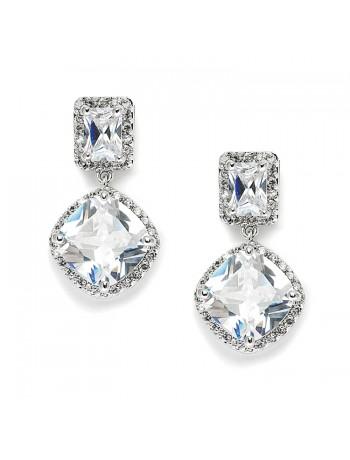 Stunning Faux Diamonds CZ Wedding Earrings