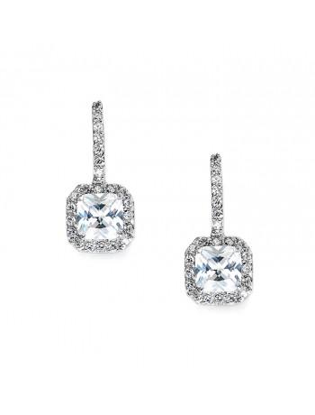 Radiant Cut Cubic Zirconia Drop Bridal, Prom or Bridesmaids