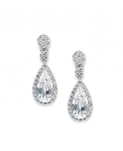 Victorian Teardrop Cubic Zirconia Wedding or Prom Earrings