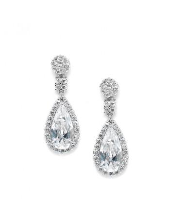 Victorian Teardrop Cubic Zirconia Wedding or Prom Earrings