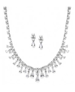 Glamorous Cubic Zirconia Teardrops Wedding Necklace & Earrings Set