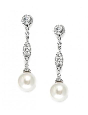 Dangle Wedding Earrings with CZ Filigree & Bold Pearl