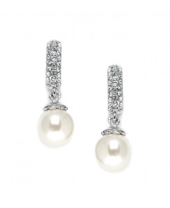 Clip On Pearl Wedding Earrings with Inlaid Cubic Zirconia