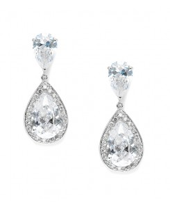 Brilliant Double Teardrop Wedding Earrings