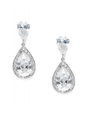 Brilliant Double Teardrop Wedding Earrings