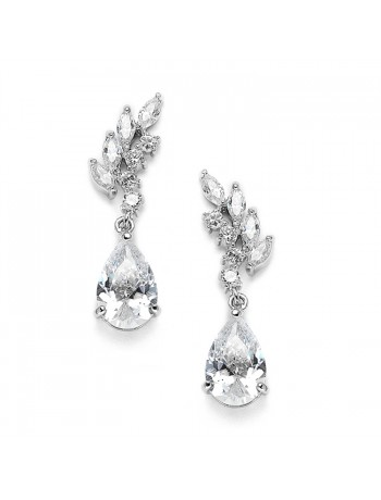 Cubic Zirconia Bridal or Bridesmaids Earrings with Baby Leaves & Teardrops