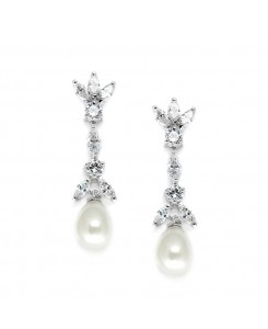 Freshwater Pearl & Cubic Zirconia Tulip Wedding Earrings
