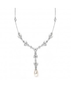 Freshwater Pearl & Cubic Zirconia Tulip Wedding Necklace